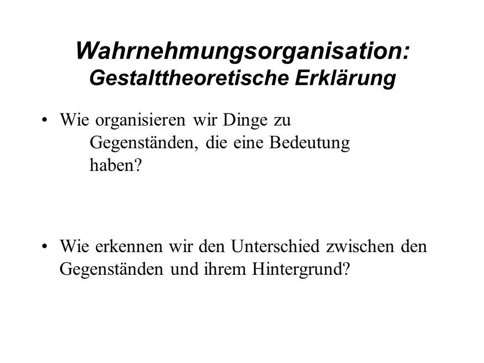 Wahrnehmungsorganisation: Gestalttheoretische Erklärung Wie organisieren wir Dinge zu Gegenständen, die eine Bedeutung haben? Wie erkennen wir den Unt