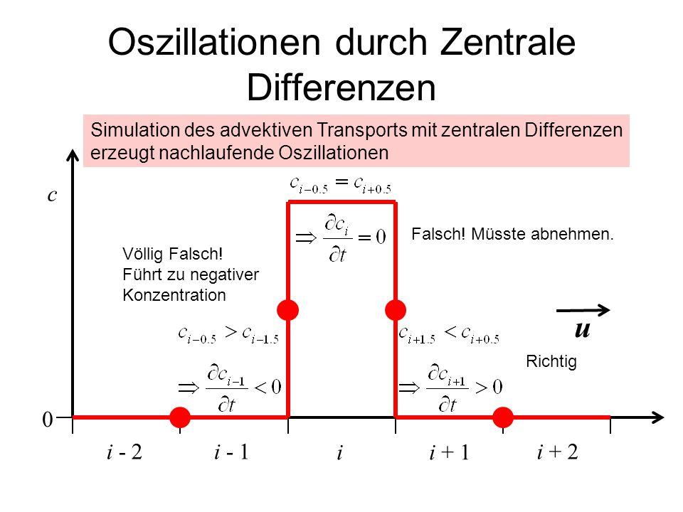 Oszillationen durch Zentrale Differenzen ii + 1 c i - 1i + 2i - 2 u Falsch! Müsste abnehmen. Völlig Falsch! Führt zu negativer Konzentration 0 Simulat