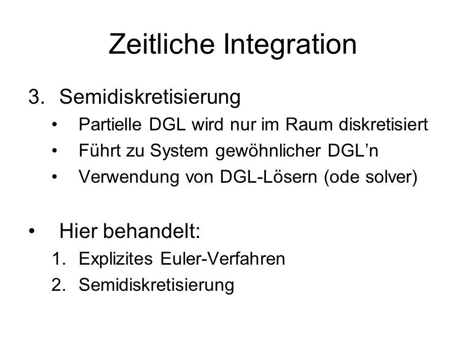 Zeitliche Integration 3.Semidiskretisierung Partielle DGL wird nur im Raum diskretisiert Führt zu System gewöhnlicher DGL'n Verwendung von DGL-Lösern