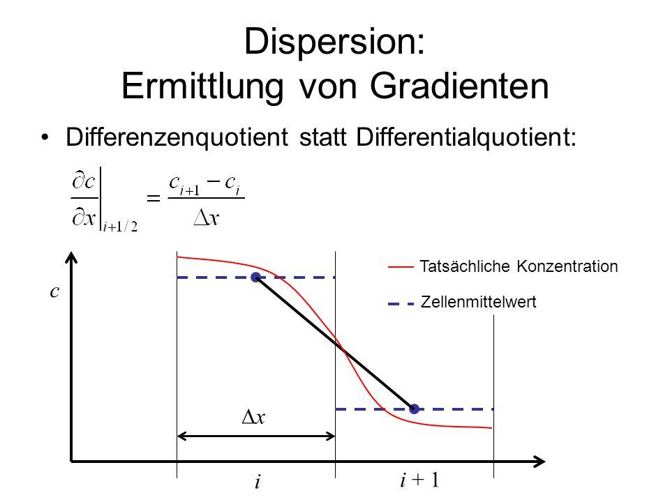 Dispersion: Ermittlung von Gradienten Differenzenquotient statt Differentialquotient: i i + 1 c Tatsächliche Konzentration Zellenmittelwert xx