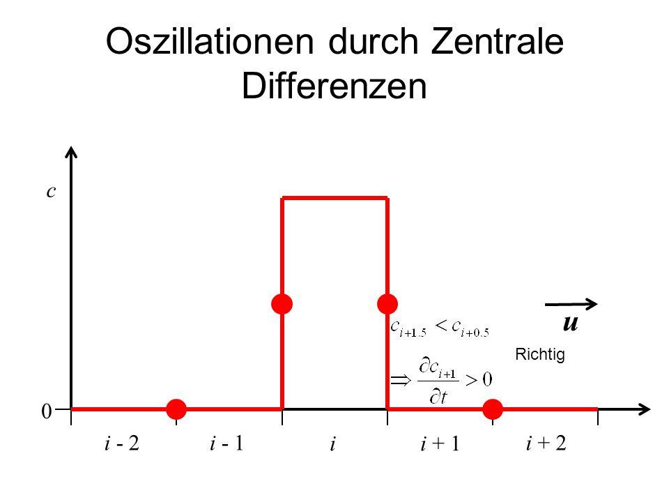 Oszillationen durch Zentrale Differenzen ii + 1 c i - 1i + 2i - 2 u 0 Richtig