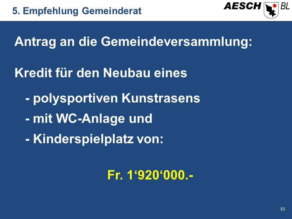 5. Empfehlung Gemeinderat Antrag an die Gemeindeversammlung: Kredit für den Neubau eines - polysportiven Kunstrasens - mit WC-Anlage und - Kinderspiel