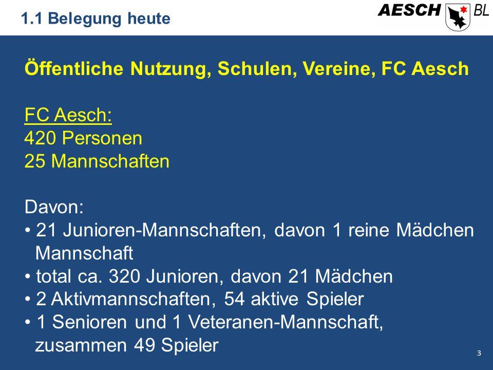 1.1 Belegung heute Öffentliche Nutzung, Schulen, Vereine, FC Aesch FC Aesch: 420 Personen 25 Mannschaften Davon: 21 Junioren-Mannschaften, davon 1 reine Mädchen Mannschaft total ca.