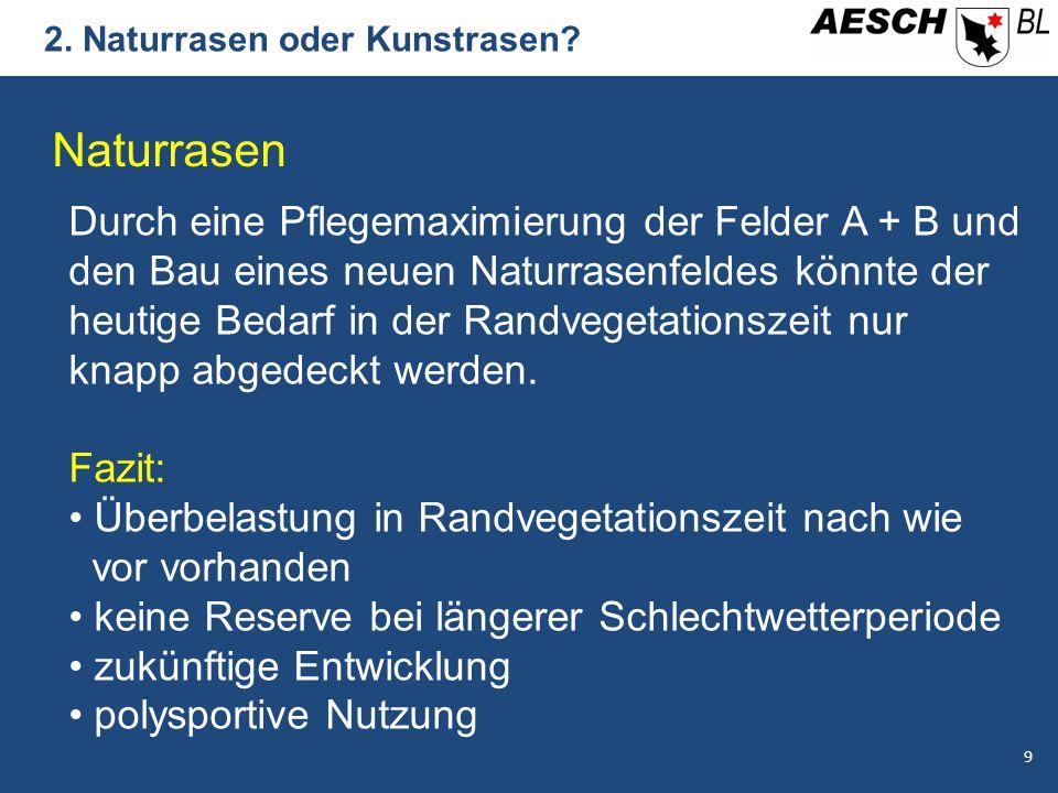2. Naturrasen oder Kunstrasen? Naturrasen Durch eine Pflegemaximierung der Felder A + B und den Bau eines neuen Naturrasenfeldes könnte der heutige Be