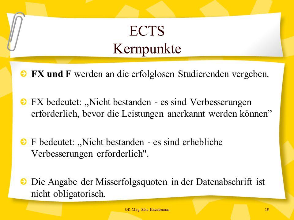 OR Mag. Elke Kitzelmann19 ECTS Kernpunkte FX und F werden an die erfolglosen Studierenden vergeben.