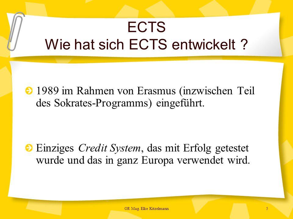 OR Mag. Elke Kitzelmann5 ECTS Wie hat sich ECTS entwickelt .