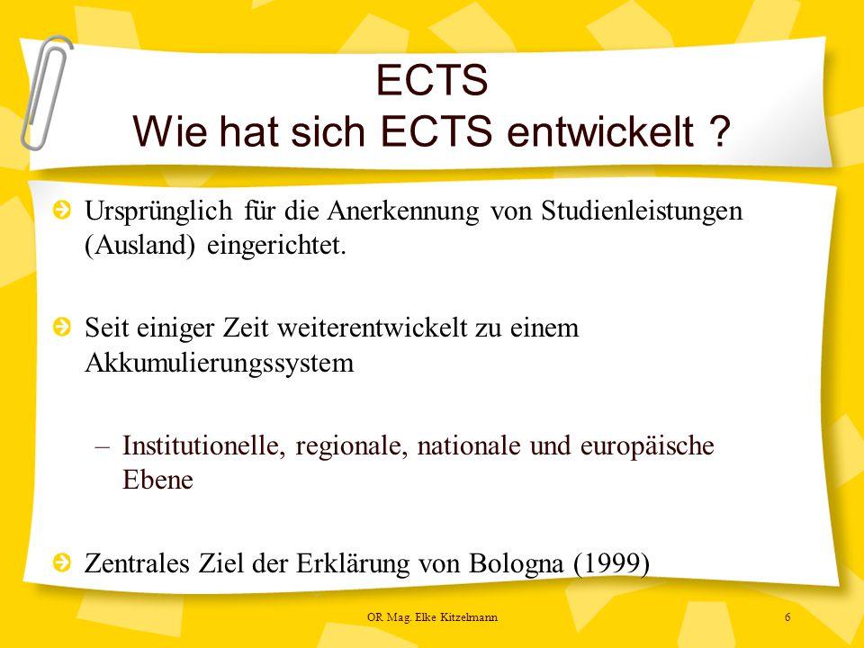 OR Mag. Elke Kitzelmann6 ECTS Wie hat sich ECTS entwickelt .