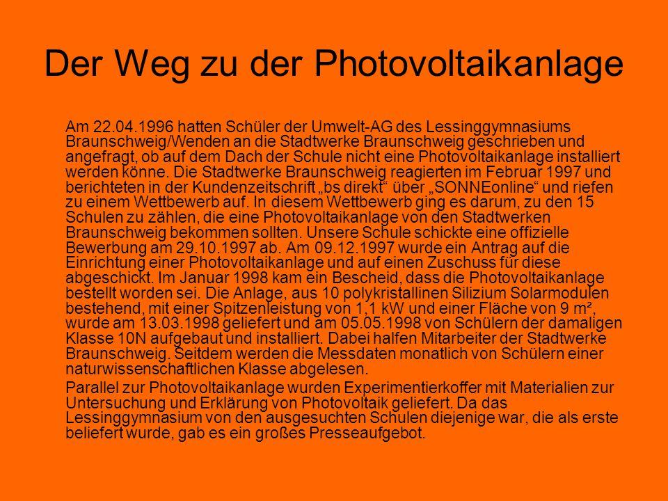 Der Weg zu der Photovoltaikanlage Am 22.04.1996 hatten Schüler der Umwelt-AG des Lessinggymnasiums Braunschweig/Wenden an die Stadtwerke Braunschweig geschrieben und angefragt, ob auf dem Dach der Schule nicht eine Photovoltaikanlage installiert werden könne.