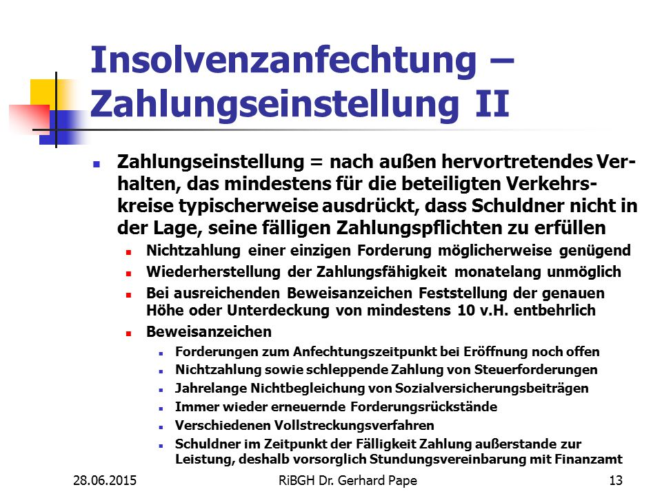Insolvenzanfechtung – Zahlungseinstellung II Zahlungseinstellung = nach außen hervortretendes Ver- halten, das mindestens für die beteiligten Verkehrs
