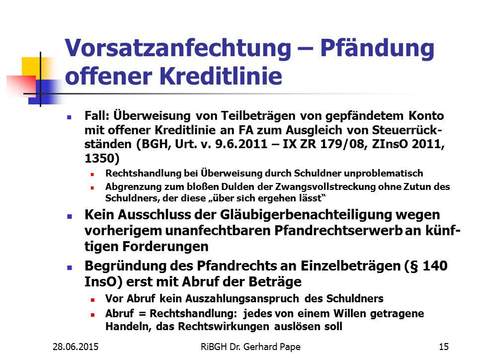 Vorsatzanfechtung – Pfändung offener Kreditlinie Fall: Überweisung von Teilbeträgen von gepfändetem Konto mit offener Kreditlinie an FA zum Ausgleich