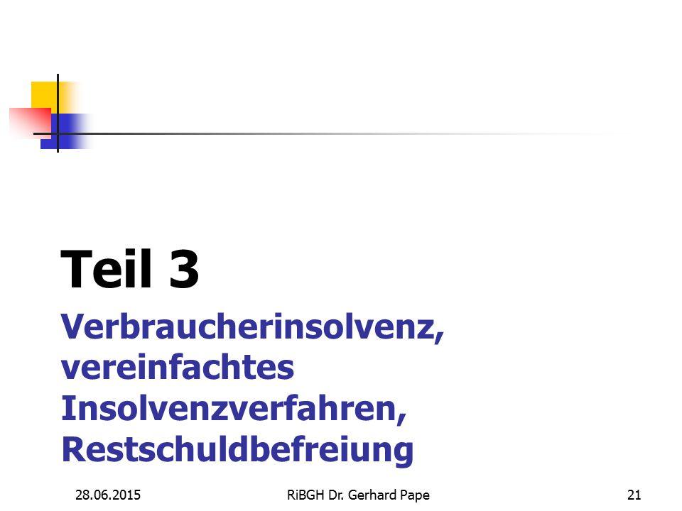 Verbraucherinsolvenz, vereinfachtes Insolvenzverfahren, Restschuldbefreiung Teil 3 28.06.201521RiBGH Dr. Gerhard Pape