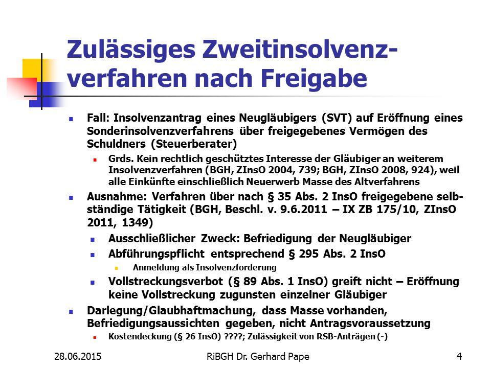 Zulässiges Zweitinsolvenz- verfahren nach Freigabe Fall: Insolvenzantrag eines Neugläubigers (SVT) auf Eröffnung eines Sonderinsolvenzverfahrens über