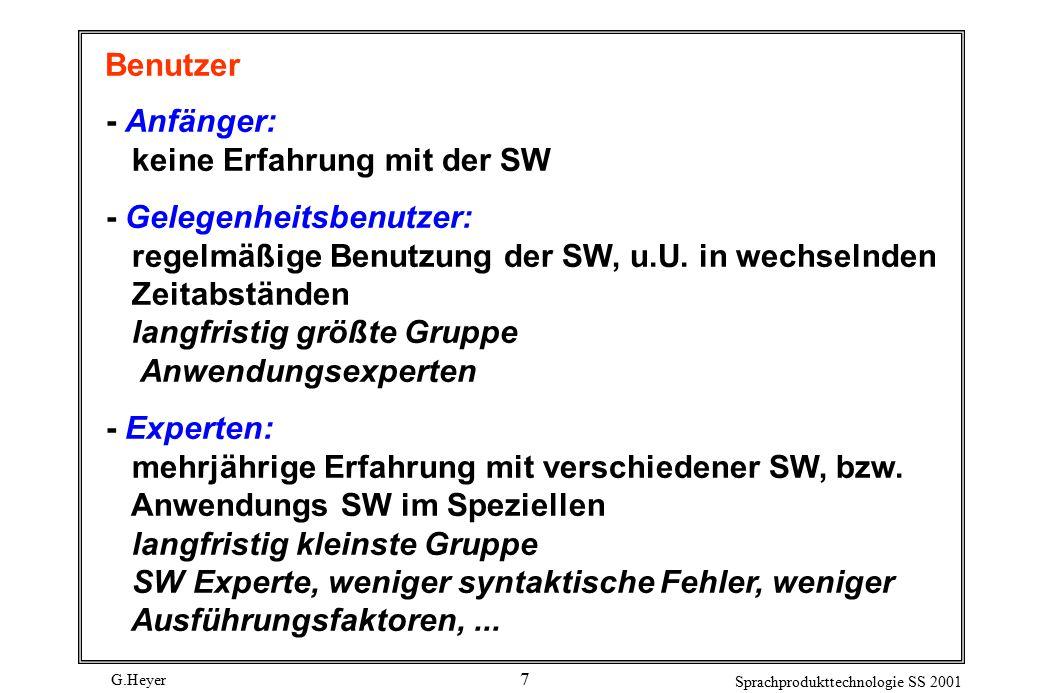 G.Heyer Sprachprodukttechnologie SS 2001 7 Benutzer - Anfänger: keine Erfahrung mit der SW - Gelegenheitsbenutzer: regelmäßige Benutzung der SW, u.U.