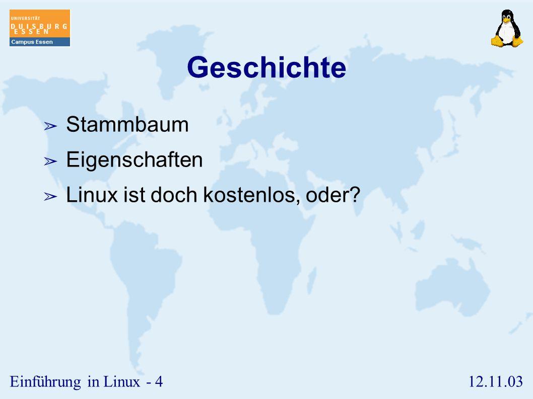 12.11.03Einführung in Linux - 84 Sondervariablen ➢ Einige Variablen sind bereits systemseitig definiert und haben eine besondere Bedeutung.