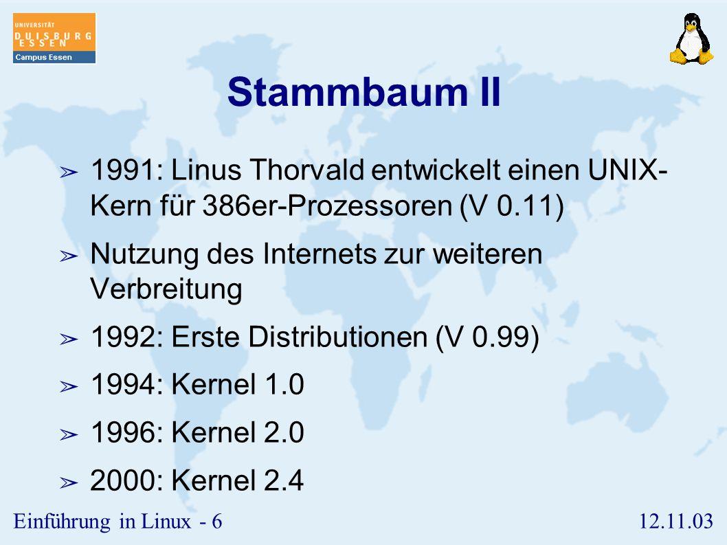 12.11.03Einführung in Linux - 5 Stammbaum I ➢ 1969: Multics von Ken Thompson ➢ Abkehr von Batch-Systemen ➢ 1971: uniplexed information and computing s