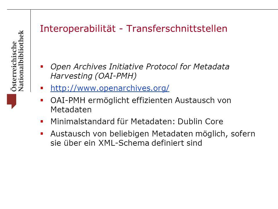 Interoperabilität - Transferschnittstellen  Open Archives Initiative Protocol for Metadata Harvesting (OAI-PMH)  http://www.openarchives.org/ http://www.openarchives.org/  OAI-PMH ermöglicht effizienten Austausch von Metadaten  Minimalstandard für Metadaten: Dublin Core  Austausch von beliebigen Metadaten möglich, sofern sie über ein XML-Schema definiert sind