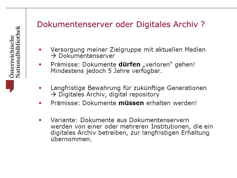 Dokumentenserver oder Digitales Archiv .