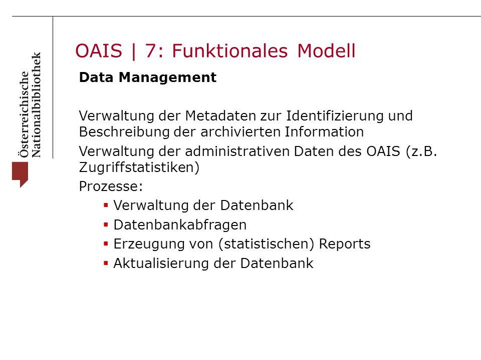 OAIS | 7: Funktionales Modell Data Management Verwaltung der Metadaten zur Identifizierung und Beschreibung der archivierten Information Verwaltung der administrativen Daten des OAIS (z.B.