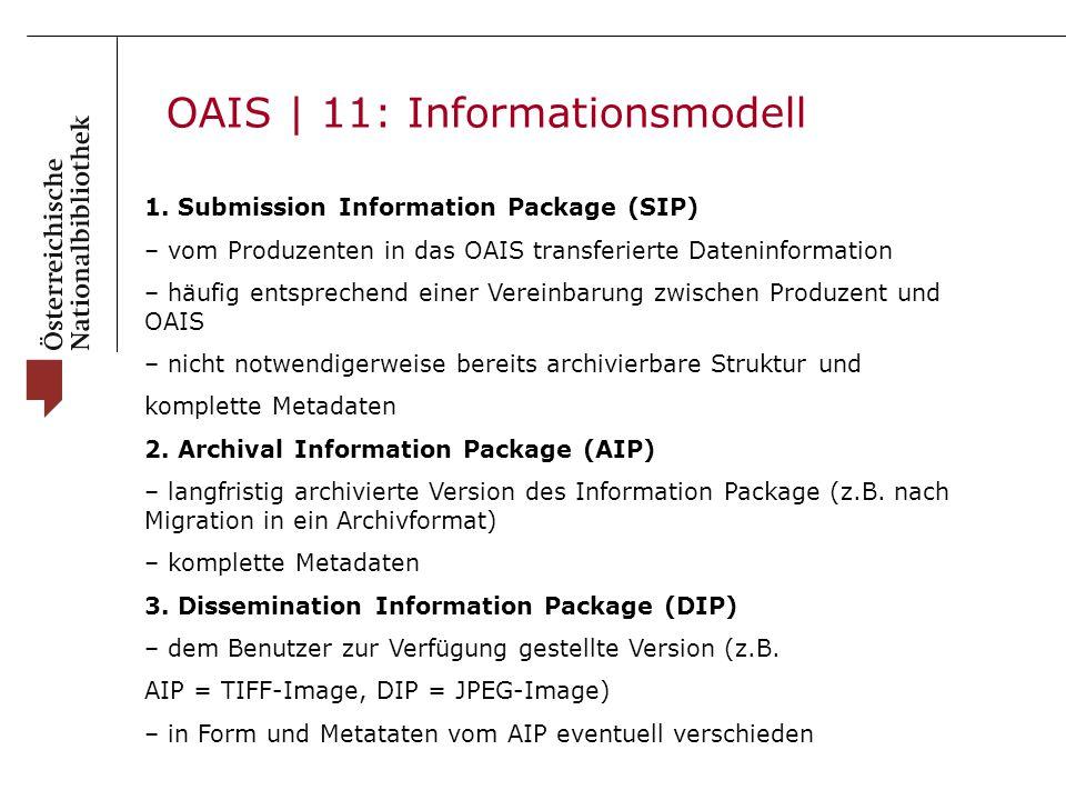OAIS | 11: Informationsmodell 1. Submission Information Package (SIP) – vom Produzenten in das OAIS transferierte Dateninformation – häufig entspreche
