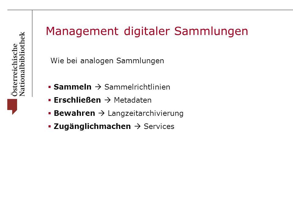Management digitaler Sammlungen Wie bei analogen Sammlungen  Sammeln  Sammelrichtlinien  Erschließen  Metadaten  Bewahren  Langzeitarchivierung  Zugänglichmachen  Services