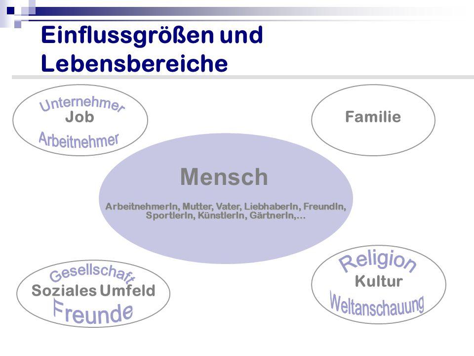 Einflussgrößen und Lebensbereiche ArbeitnehmerIn, Mutter, Vater, LiebhaberIn, FreundIn, SportlerIn, KünstlerIn, GärtnerIn,… Soziales Umfeld JobFamilie