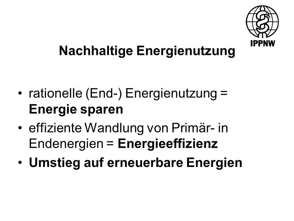 Nachhaltige Energienutzung rationelle (End-) Energienutzung = Energie sparen effiziente Wandlung von Primär- in Endenergien = Energieeffizienz Umstieg auf erneuerbare Energien