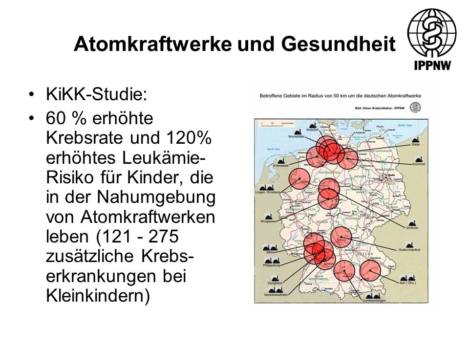 Atomkraftwerke und Gesundheit KiKK-Studie: 60 % erhöhte Krebsrate und 120% erhöhtes Leukämie- Risiko für Kinder, die in der Nahumgebung von Atomkraftwerken leben (121 - 275 zusätzliche Krebs- erkrankungen bei Kleinkindern)