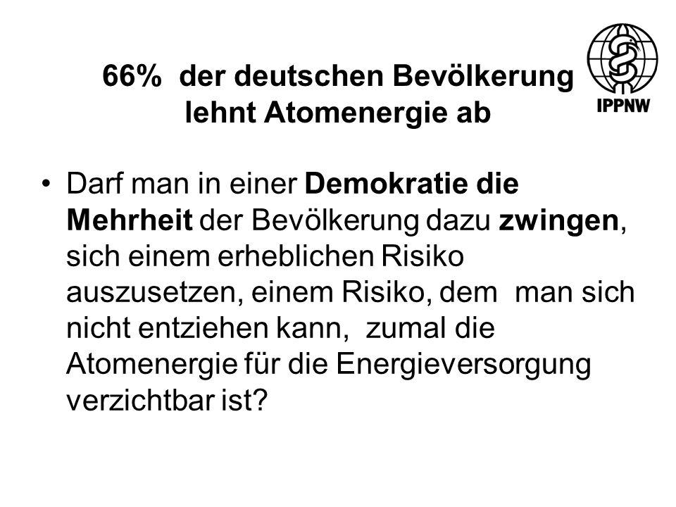 66% der deutschen Bevölkerung lehnt Atomenergie ab Darf man in einer Demokratie die Mehrheit der Bevölkerung dazu zwingen, sich einem erheblichen Risiko auszusetzen, einem Risiko, dem man sich nicht entziehen kann, zumal die Atomenergie für die Energieversorgung verzichtbar ist?