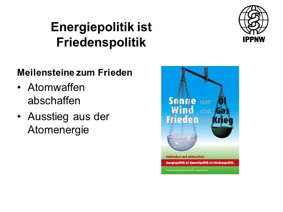 Meilensteine zum Frieden Atomwaffen abschaffen Ausstieg aus der Atomenergie Energiepolitik ist Friedenspolitik