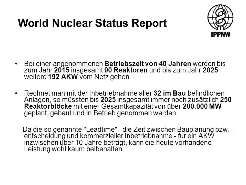 World Nuclear Status Report Bei einer angenommenen Betriebszeit von 40 Jahren werden bis zum Jahr 2015 insgesamt 90 Reaktoren und bis zum Jahr 2025 weitere 192 AKW vom Netz gehen.