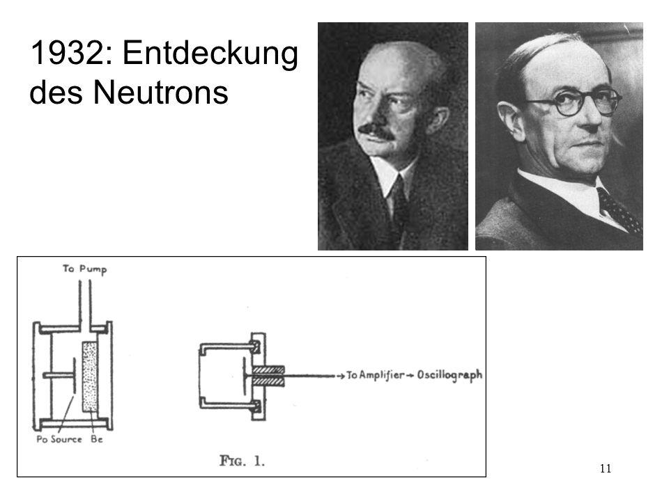 11 1932: Entdeckung des Neutrons