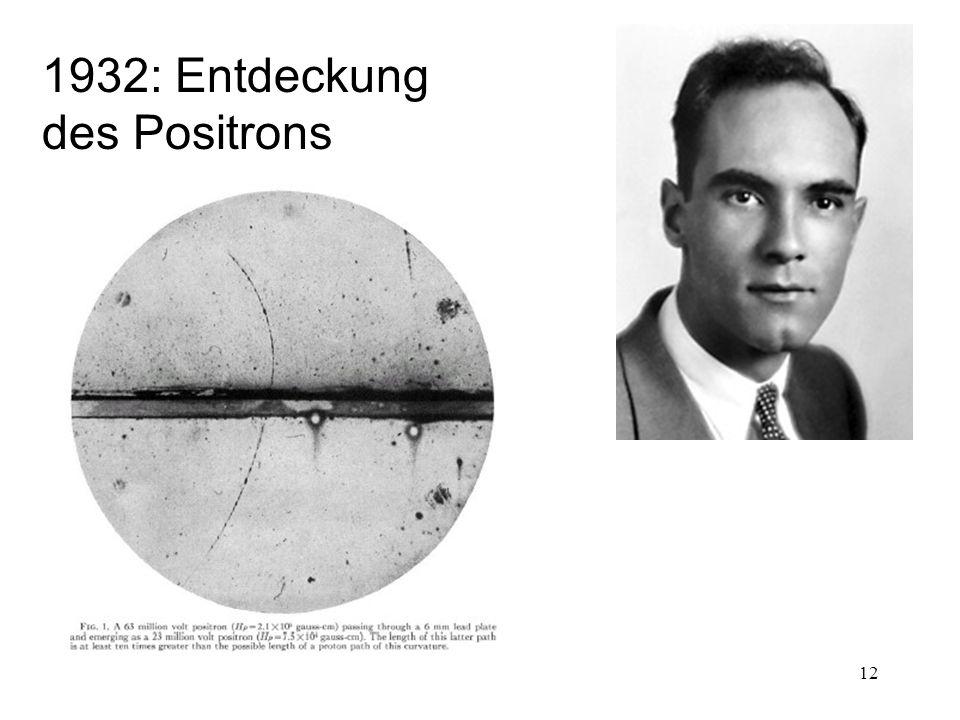 12 1932: Entdeckung des Positrons