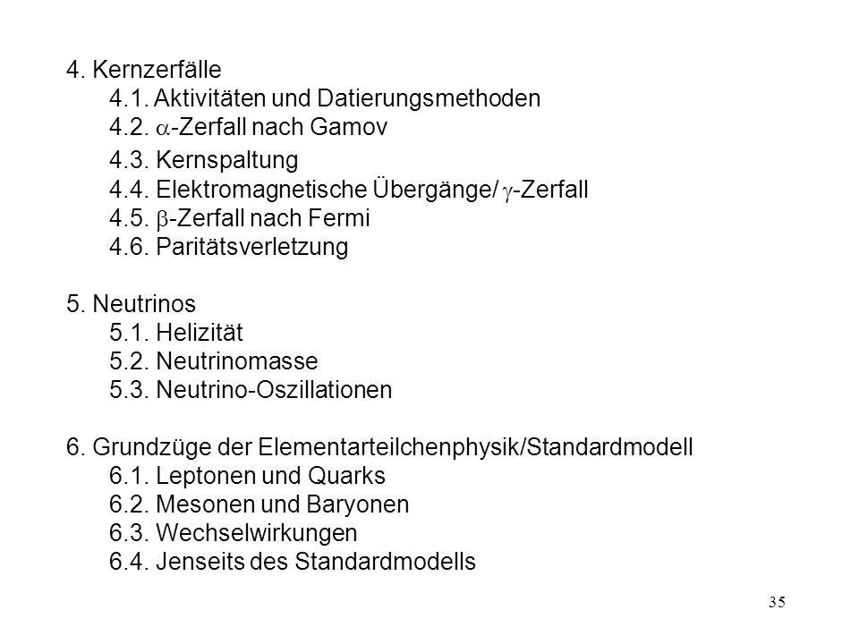 35 4.Kernzerfälle 4.1. Aktivitäten und Datierungsmethoden 4.2.