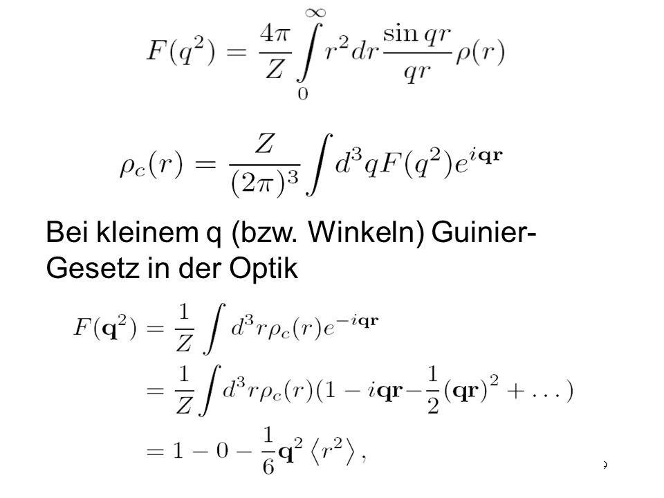 49 Bei kleinem q (bzw. Winkeln) Guinier- Gesetz in der Optik