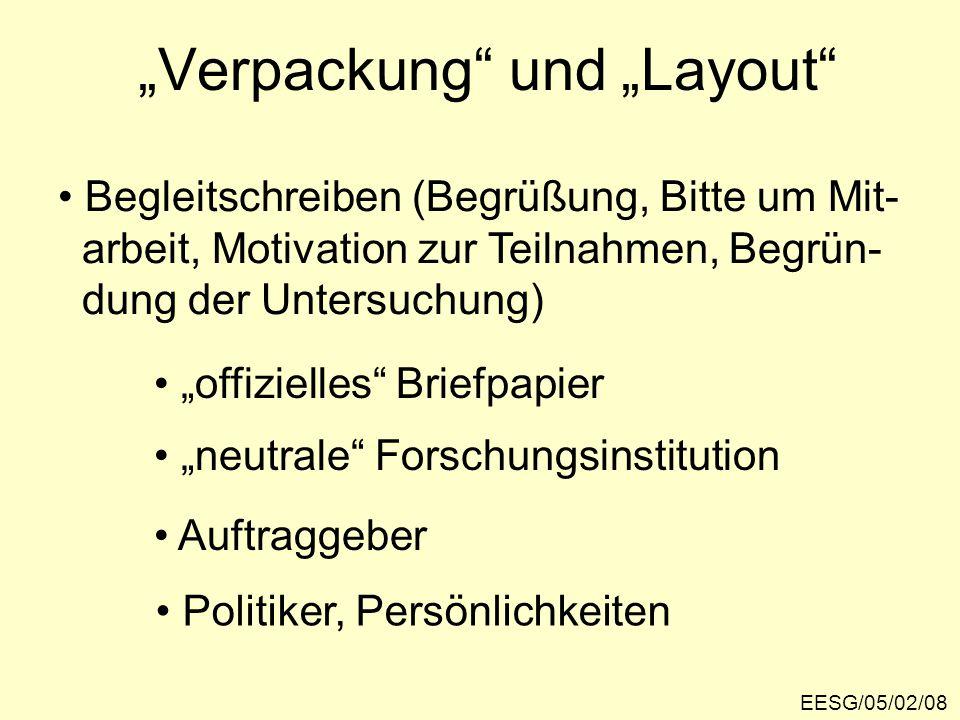 """""""Verpackung und """"Layout EESG/05/02/08 Begleitschreiben (Begrüßung, Bitte um Mit- arbeit, Motivation zur Teilnahmen, Begrün- dung der Untersuchung) """"offizielles Briefpapier """"neutrale Forschungsinstitution Auftraggeber Politiker, Persönlichkeiten"""