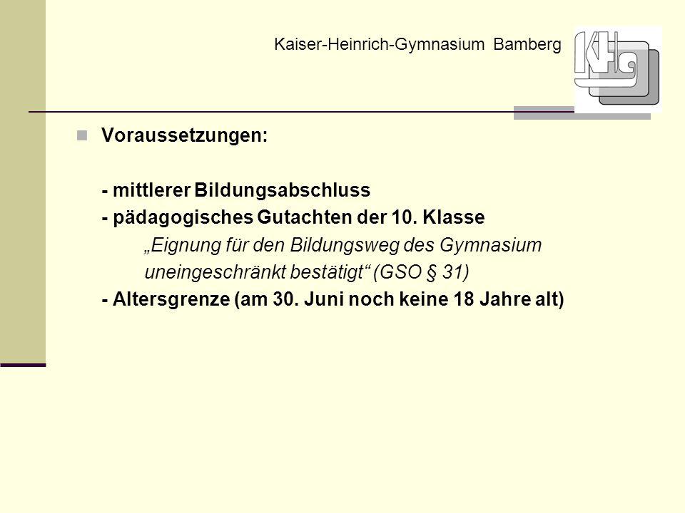 """Voraussetzungen: - mittlerer Bildungsabschluss - pädagogisches Gutachten der 10. Klasse """"Eignung für den Bildungsweg des Gymnasium uneingeschränkt bes"""