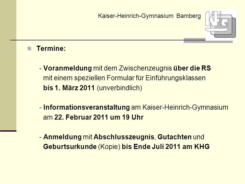 Termine: - Voranmeldung mit dem Zwischenzeugnis über die RS mit einem speziellen Formular für Einführungsklassen bis 1. März 2011 (unverbindlich) - In
