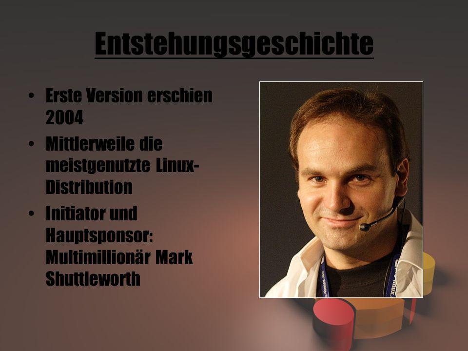 Entstehungsgeschichte Erste Version erschien 2004 Mittlerweile die meistgenutzte Linux- Distribution Initiator und Hauptsponsor: Multimillionär Mark Shuttleworth