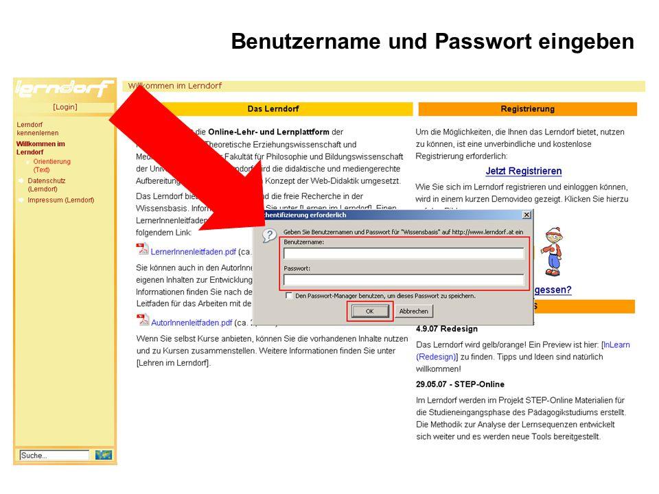 Benutzername und Passwort eingeben