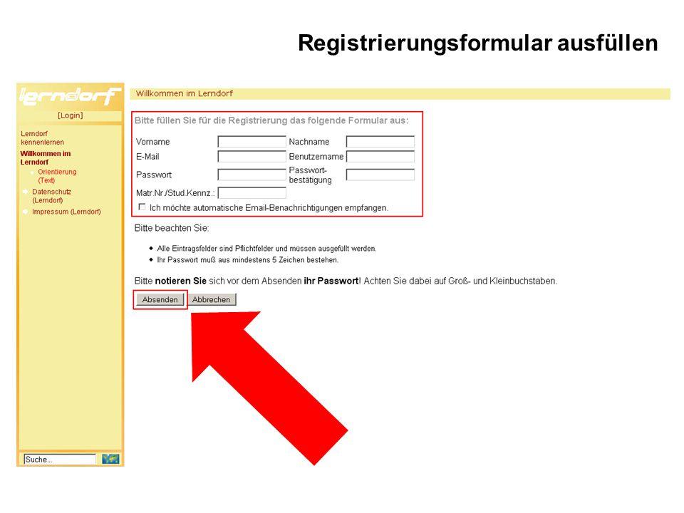 Registrierungsformular ausfüllen