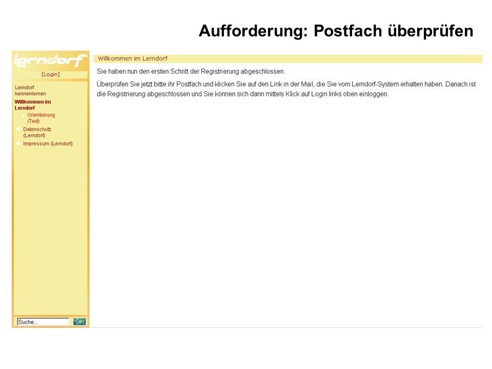 Aufforderung: Postfach überprüfen