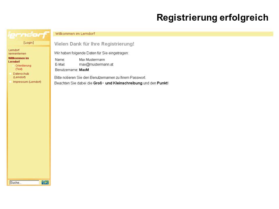 Registrierung erfolgreich
