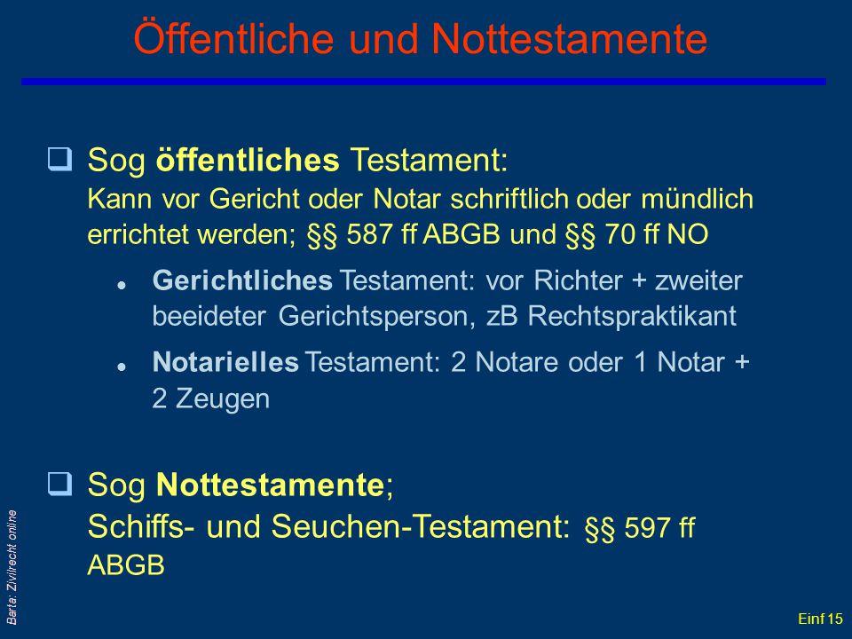 Einf 14 Barta: Zivilrecht online Private Testamentsformen qSchriftlich: l Eigenhändiges oder holographes Testament (ohne Zeugen !); § 578 ABGB l Fremd