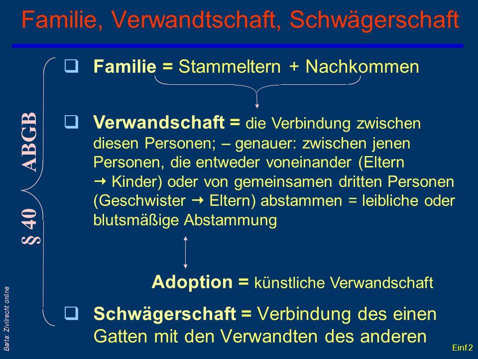 Einf 1 Barta: Zivilrecht online Die Verwandtschaft Brüder Vettern Kousinen Schwestern Neffen Nichten Söhne Töchter Neffen Nichten Enkel Enkelinnen Vat