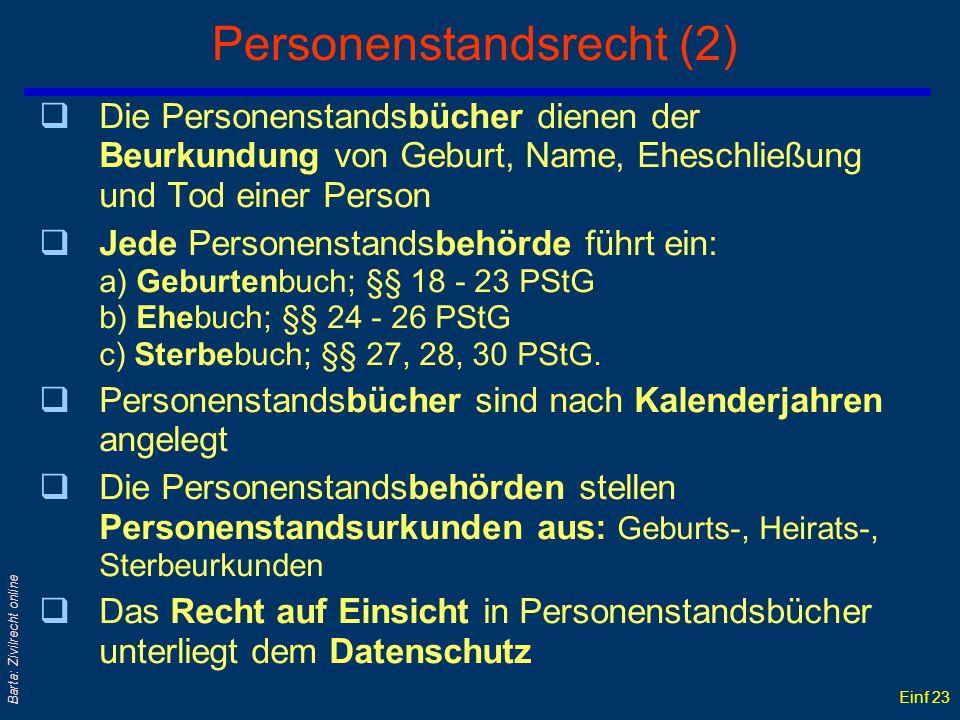 Einf 22 Barta: Zivilrecht online Personenstandsrecht (1) qDer Staat zählt seit altersher seine Bürger... qDer moderne Staat hält auch ihren Personenst