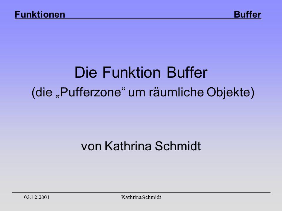 """Funktionen Buffer 03.12.2001Kathrina Schmidt Die Funktion Buffer (die """"Pufferzone um räumliche Objekte) von Kathrina Schmidt"""