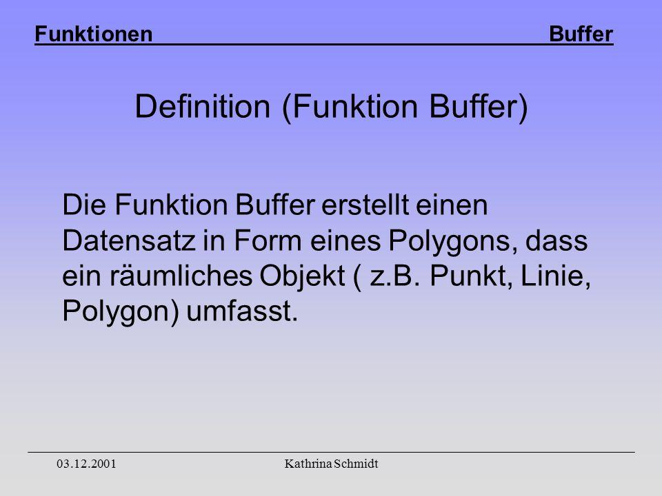 Funktionen Buffer 03.12.2001Kathrina Schmidt Definition (Funktion Buffer) Die Funktion Buffer erstellt einen Datensatz in Form eines Polygons, dass ein räumliches Objekt ( z.B.