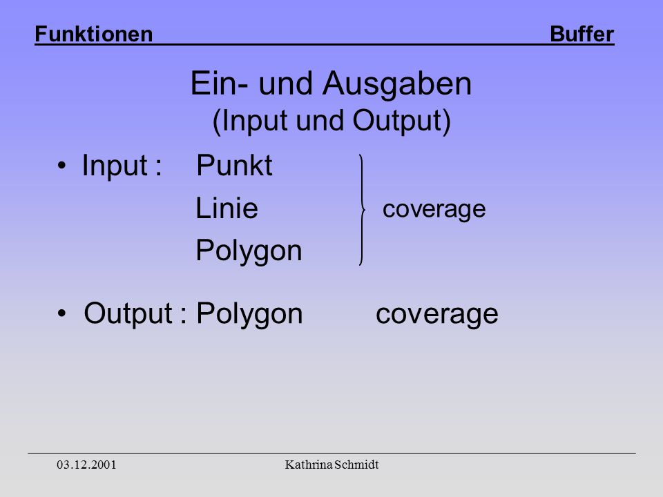 Funktionen Buffer 03.12.2001Kathrina Schmidt Ein- und Ausgaben (Input und Output) Input : Punkt Linie Polygon coverage Output : Polygon coverage