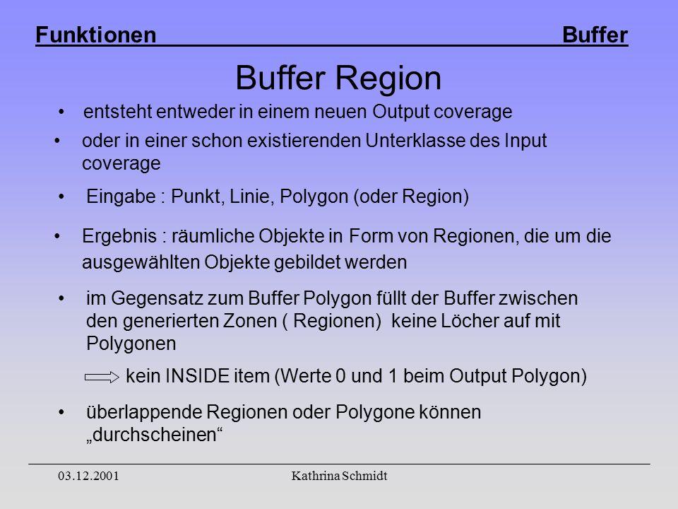 """Funktionen Buffer 03.12.2001Kathrina Schmidt Buffer Region entsteht entweder in einem neuen Output coverage oder in einer schon existierenden Unterklasse des Input coverage Ergebnis : räumliche Objekte in Form von Regionen, die um die ausgewählten Objekte gebildet werden Eingabe : Punkt, Linie, Polygon (oder Region) im Gegensatz zum Buffer Polygon füllt der Buffer zwischen den generierten Zonen ( Regionen) keine Löcher auf mit Polygonen überlappende Regionen oder Polygone können """"durchscheinen kein INSIDE item (Werte 0 und 1 beim Output Polygon)"""
