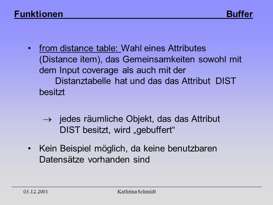 """Funktionen Buffer 03.12.2001Kathrina Schmidt from distance table: Wahl eines Attributes (Distance item), das Gemeinsamkeiten sowohl mit dem Input coverage als auch mit der Distanztabelle hat und das das Attribut DIST besitzt  jedes räumliche Objekt, das das Attribut DIST besitzt, wird """"gebuffert Kein Beispiel möglich, da keine benutzbaren Datensätze vorhanden sind"""